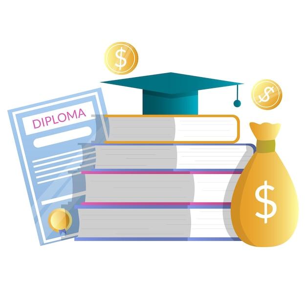 Dyplom, worek pieniędzy, stos książek z graduacyjnej kapelusz, płaskie wektor ilustracja. koszt edukacji. czesne, wartość wiedzy. inwestycje w edukację. stypendium.