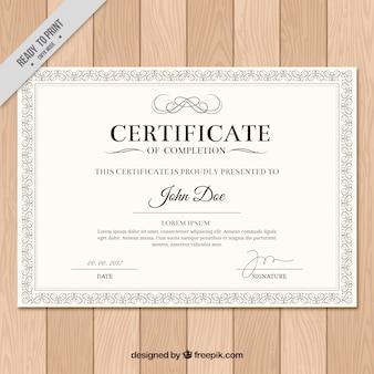 Dyplom z klasyczną ramą