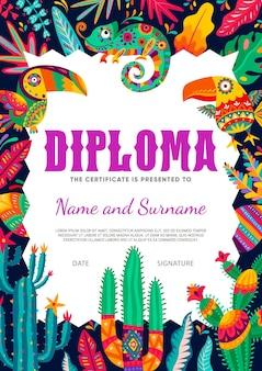 Dyplom z kreskówki dla dzieci, meksykańskie tukany i kameleon