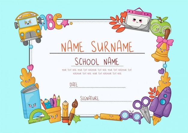 Dyplom z kreskówki kawaii dla szkoły podstawowej.