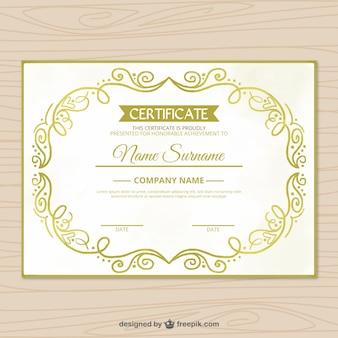 Dyplom z ręcznie rysowanych kształtów złotych