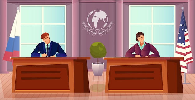 Dyplomacja i dyplomata z symbolami usa i rosji płaska