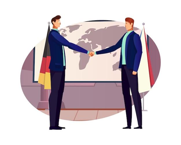 Dyplomacja płaska kompozycja z dwoma postaciami uścisku dłoni z mapą świata i flagami