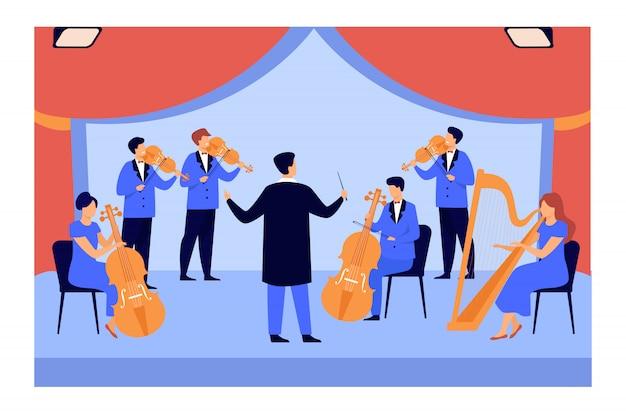 Dyrygent i muzycy grający na skrzypcach, harfie i wiolonczeli