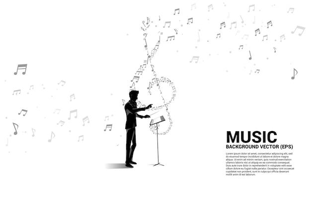 Dyrygent i muzyka melodia nuta tańca. koncepcja tła dla tematu piosenki i koncertu.