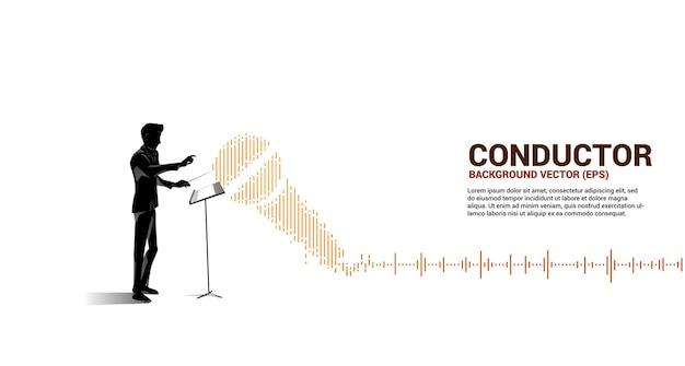 Dyrygent muzyczny z falą korektora jako nutą muzyczną.