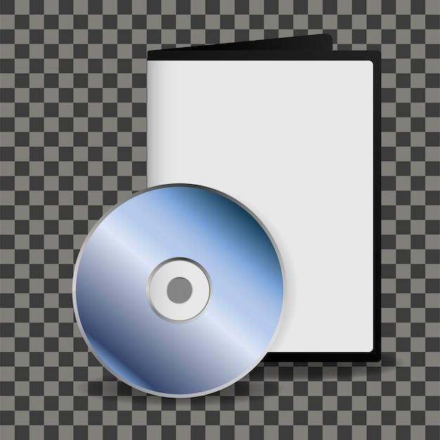 Dysk dvd i szablon pudełko do projektowania na przezroczystym tle.