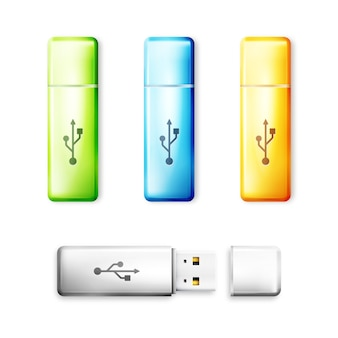 Dysk flash usb na białym tle. technologia transferu pamięci, elektroniczne przenośne urządzenie do przechowywania danych.