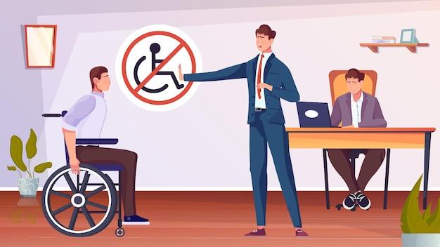 Dyskryminacja osób niepełnosprawnych z mężczyzną na płaskiej ilustracji na wózku inwalidzkim