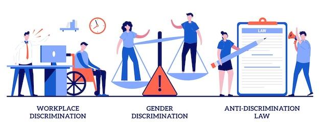 Dyskryminacja w miejscu pracy i płci, koncepcja prawa antydyskryminacyjnego z małymi ludźmi. równych praw streszczenie wektor zestaw ilustracji. role, stereotypy, molestowanie seksualne, metafora równości społecznej.