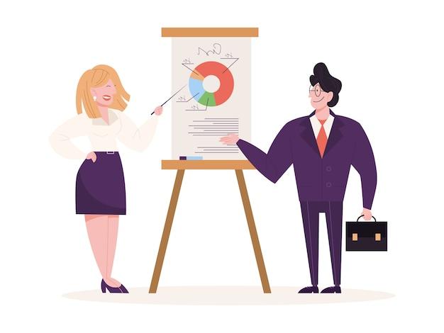 Dyskusja i burza mózgów w koncepcji zespołu. ludzie biznesu w pracy, spotkanie biurowe. profesjonalna komunikacja. ilustracja