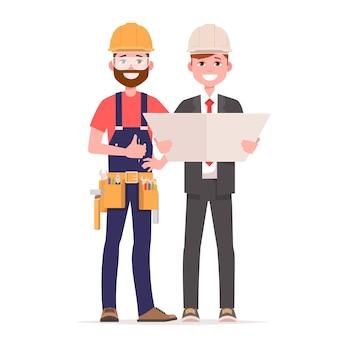 Dyskusja inżyniera budownictwa z architektem, czytanie instrukcji.