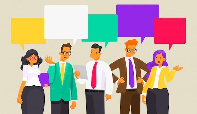 Dyskusja ludzi biznesu. aktualności. dymek