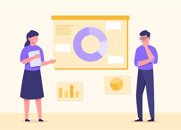 Dyskusja mężczyzny i kobiety z analizą biznesową danych wykresów i wykresów na pokładzie z nowoczesnym płaskim stylem