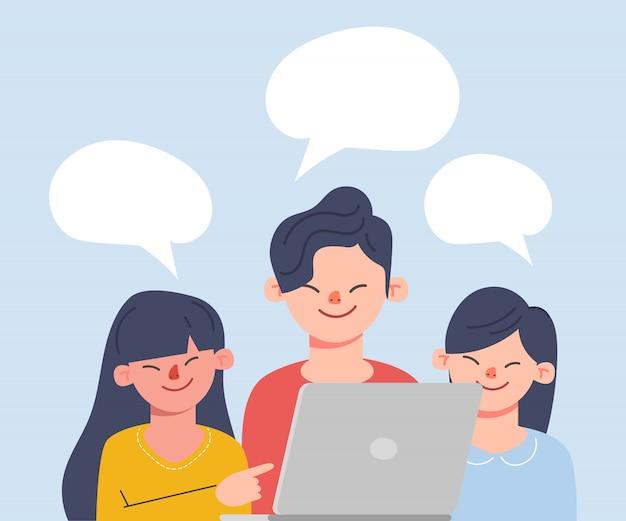 Dyskusje o ludziach biznesu. mężczyzna i kobieta rozmawia w mediach społecznościowych. ilustracja wektorowa kreskówka w stylu płaski.