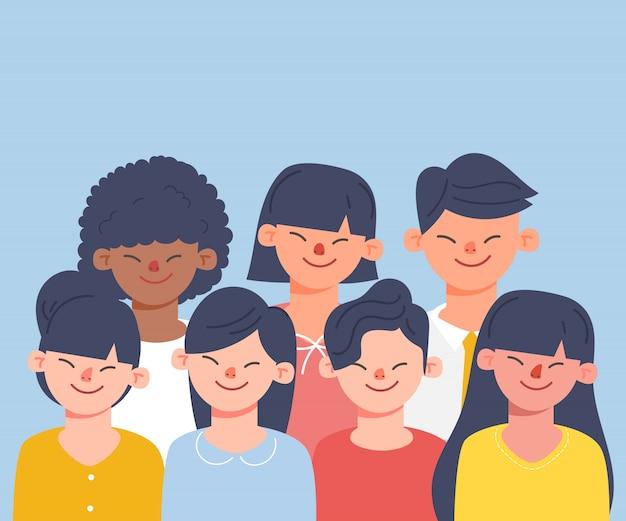 Dyskusje o ludziach rozmawiających w mediach społecznościowych. postać z kreskówki wektorowa ilustracja w mieszkanie stylu. międzynarodowy charakter azjatycki.