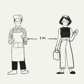 Dystans fizyczny nowy normalny, dystans społeczny 1 metr