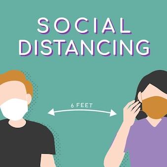 Dystans społeczny 6 stóp covid-19 świadomość społeczna post