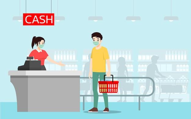 Dystans społeczny, aby zapobiec koronawirusowi lub covid-19 od innych osób w supermarkecie.