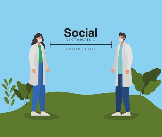 Dystans społeczny, dwa metry i sześć stóp z jednym lekarzem, mężczyzną i kobietą na łące