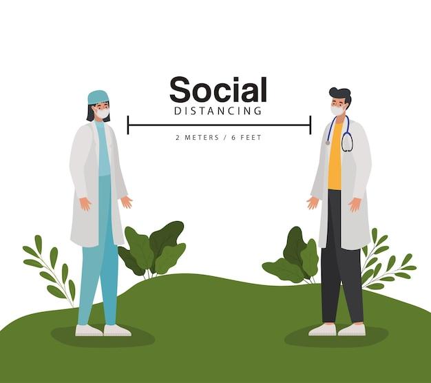Dystans społeczny, dwa metry i sześć stóp z jednym lekarzem, mężczyzną i kobietą