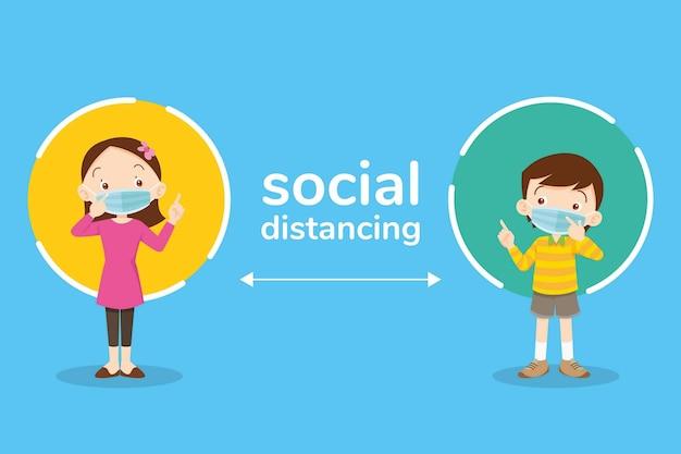 Dystans społeczny, dzieci chłopiec i dziewczynka w maskach chirurgicznych lub medycznych, dystans społeczny