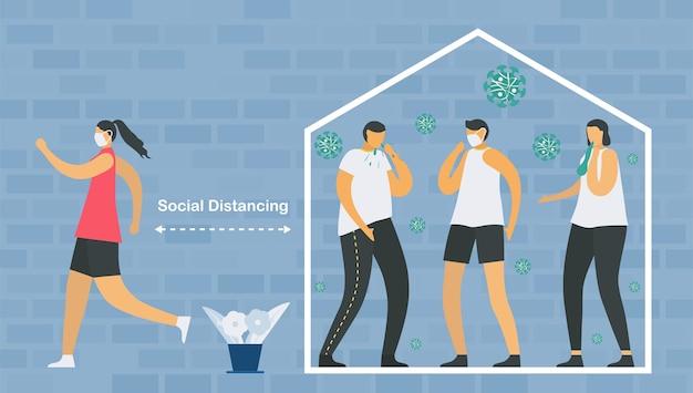 Dystans społeczny. gdy zachorujesz, musisz zostać w domu i spotkać się z lekarzem. uratuj życie przed nową epidemią koronawirusa.