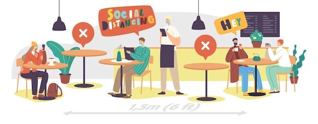 Dystans społeczny i nowa normalność po globalnej pandemii. męskie postacie kobiece w kawiarni lub restauracji po epidemii koronawirusa kelner w masce przynoszący porządek i menu. ilustracja wektorowa kreskówka ludzie
