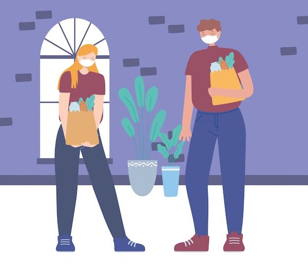 Dystans społeczny koronawirusa, mężczyzna i kobieta z torbami spożywczymi zapobiegają rozprzestrzenianiu się infekcji, ludzie z medyczną maską na twarz