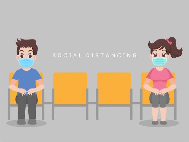 Dystans społeczny, ludzie siedzą na krześle, zachowując dystans do ryzyka infekcji i chorób