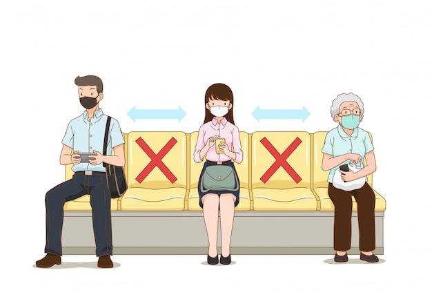 Dystans społeczny. ludzie trzymają się na dystans, siedząc w publicznym fotelu, aby zapobiec chorobie koronawirusowej.