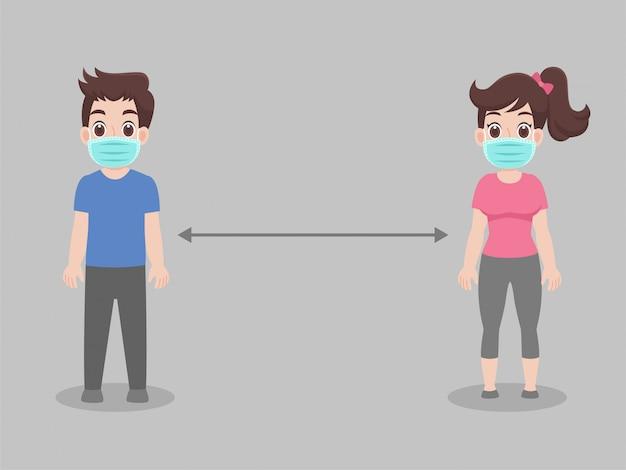Dystans społeczny, ludzie utrzymujący dystans dla ryzyka infekcji i choroby