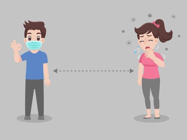 Dystans społeczny, ludzie utrzymujący dystans do ryzyka infekcji i choroby