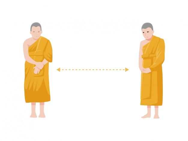 Dystans społeczny, mnich trzyma dystans do ryzyka infekcji i choroby