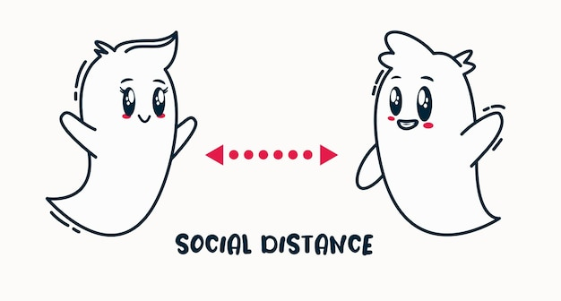 Dystans społeczny na dzień halloween. imprezowe duchy trzymają się na dystans, aby uniknąć covid