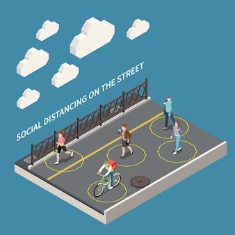 Dystans społeczny na ilustracji izometrycznej ulicy