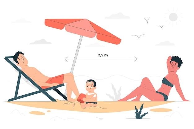 Dystans społeczny na ilustracji koncepcja plaży