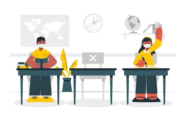 Dystans społeczny na ilustracji koncepcji szkoły