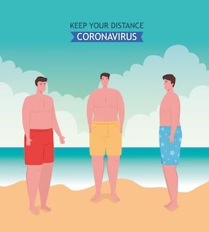 Dystans społeczny na plaży, mężczyźni zachowują dystans, nowa koncepcja normalnej letniej plaży po koronawirusie lub covid 19