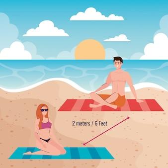 Dystans społeczny na plaży, para zachowująca odległość dwa metry lub sześć stóp, nowa koncepcja normalnej letniej plaży po koronawirusie lub covid 19