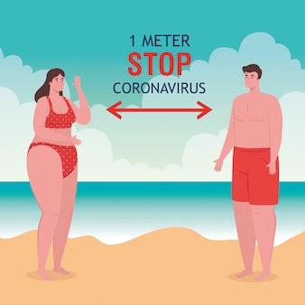 Dystans społeczny na plaży, para zachowuje odległość jednego metra, nowa koncepcja normalnej letniej plaży po koronawirusie lub covid 19
