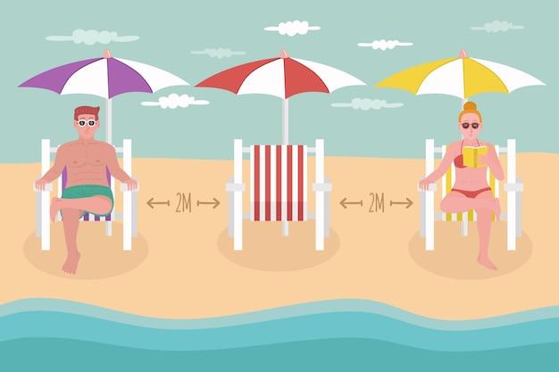 Dystans społeczny na plaży