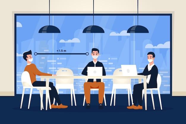 Dystans społeczny na spotkaniu