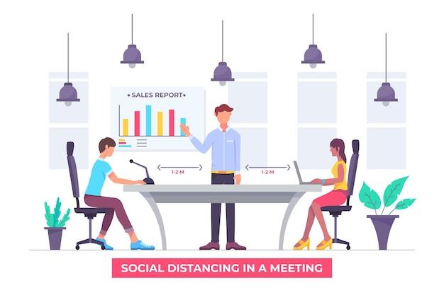 Dystans społeczny na zilustrowanym spotkaniu