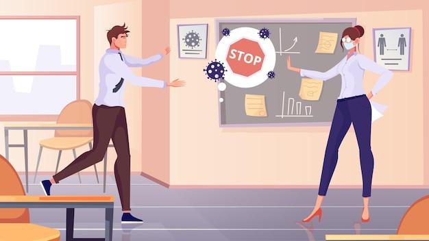 Dystans społeczny obejmuje płaską kompozycję z wewnętrzną scenerią biurową i postaciami współpracowników odmawiających kontaktu dotykowego