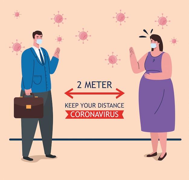 Dystans społeczny, powstrzymaj koronawirusa na odległość dwóch metrów, utrzymuj dystans w społeczeństwie, aby chronić ludzi przed covid-19, para nosząca maskę medyczną przed koronawirusem
