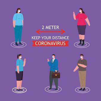 Dystans społeczny, powstrzymaj koronawirusa na odległość dwóch metrów, zachowaj dystans w społeczeństwie, aby chronić ludzi przed covid-19, osoby noszące maskę medyczną przed koronawirusem