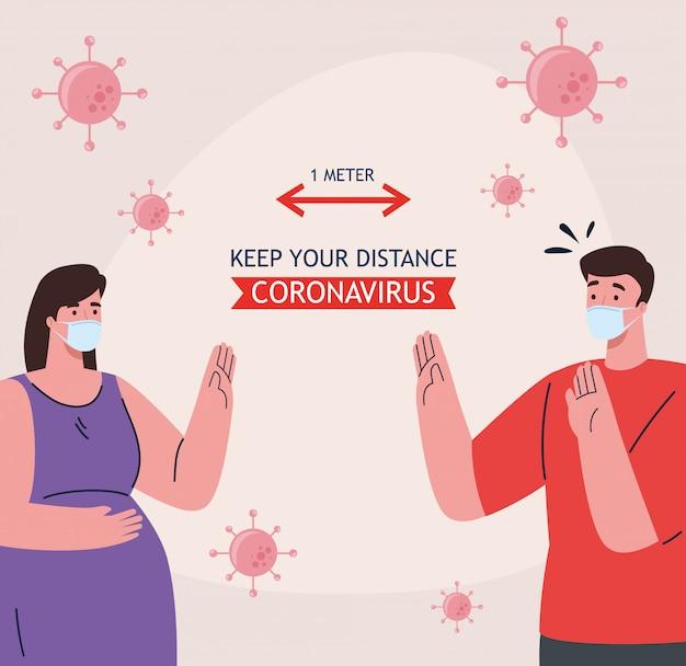 Dystans społeczny, powstrzymaj koronawirusa na odległość jednego metra, zachowaj dystans w społeczeństwie, aby chronić ludzi przed covid-19, para nosząca maskę medyczną przed koronawirusem