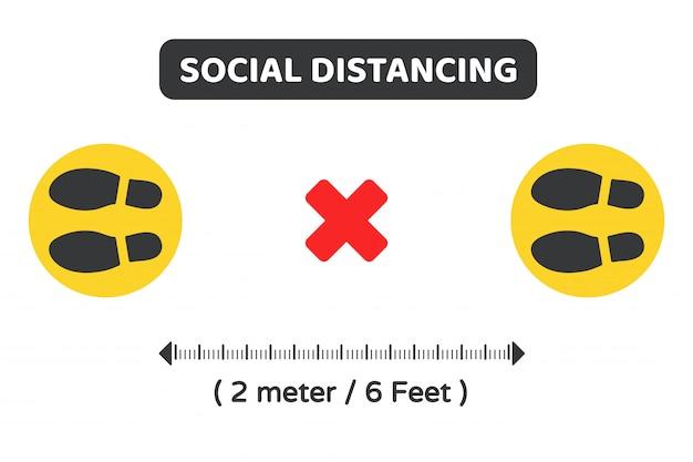 Dystans społeczny. symbol wektorowy na ziemi wskazujący lokalizację kolejki trzymaj 2 metry od innych.