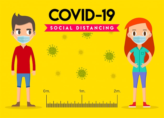 Dystans społeczny, utrzymuj dystans w społeczeństwie publicznym, aby chronić się przed covid-19. koronawirus wybuch.